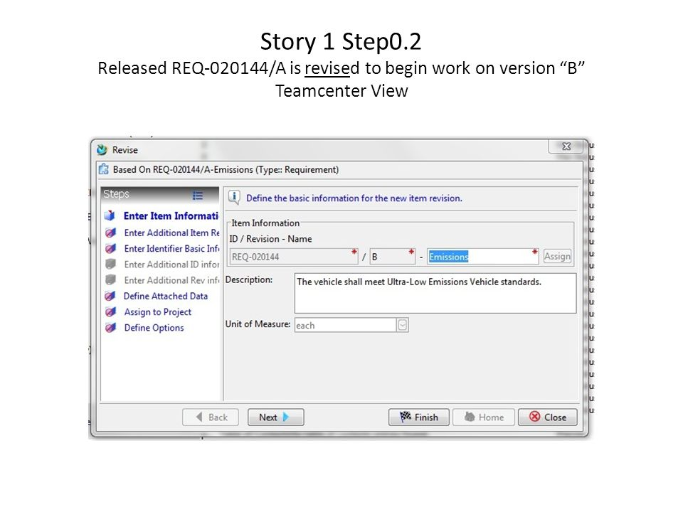 Story 1 Step0.2 Released REQ /A is revised to begin work on version B Teamcenter View