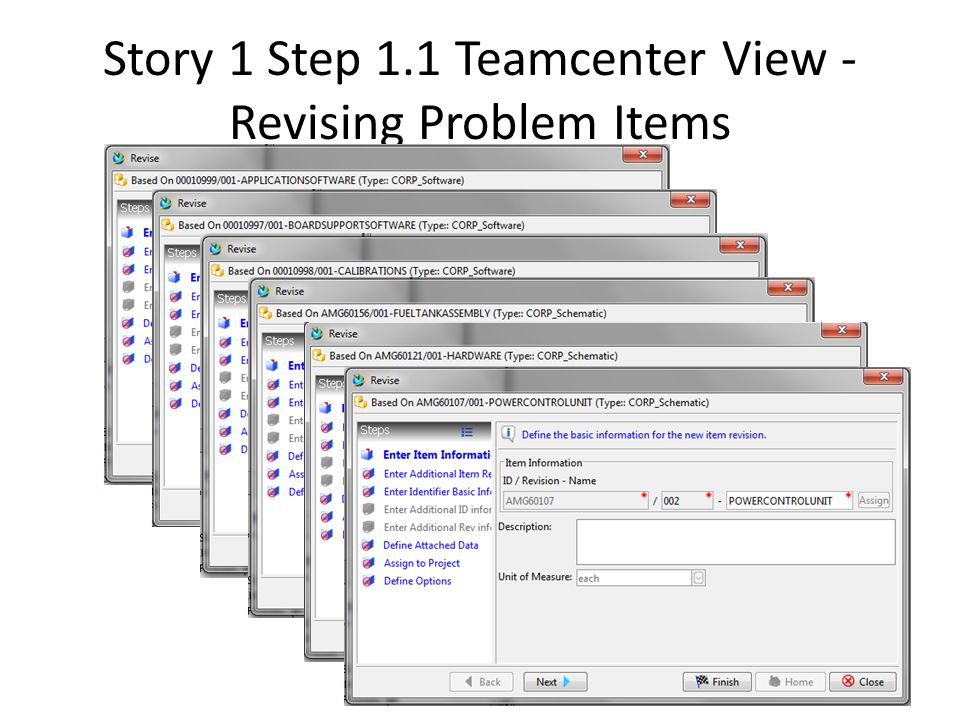 Story 1 Step 1.1 Teamcenter View - Revising Problem Items