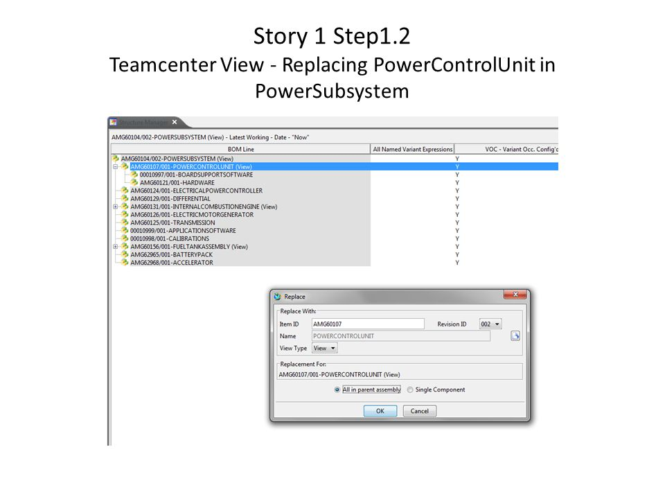 Story 1 Step1.2 Teamcenter View - Replacing PowerControlUnit in PowerSubsystem