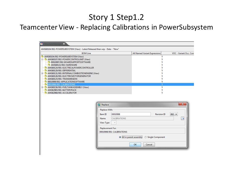 Story 1 Step1.2 Teamcenter View - Replacing Calibrations in PowerSubsystem