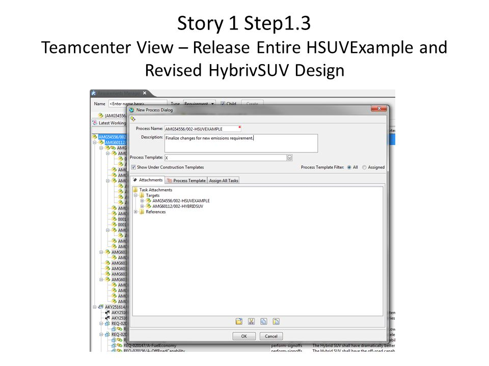 Story 1 Step1.3 Teamcenter View – Release Entire HSUVExample and Revised HybrivSUV Design