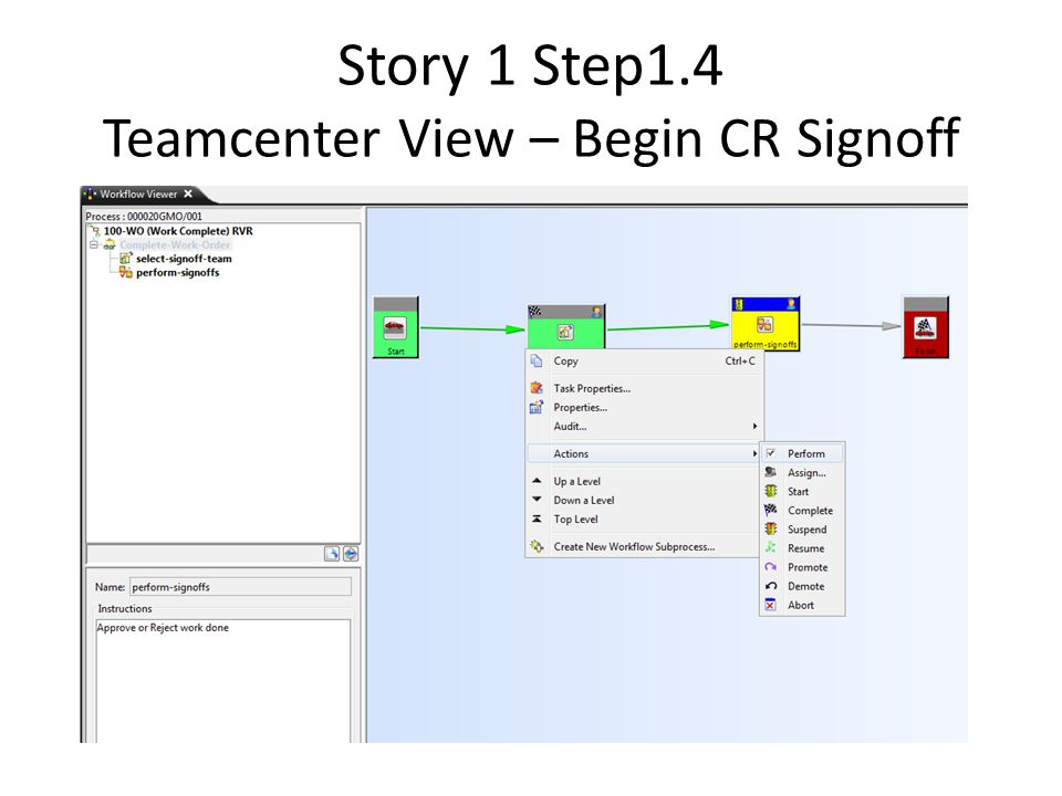Story 1 Step1.4 Teamcenter View – Begin CR Signoff