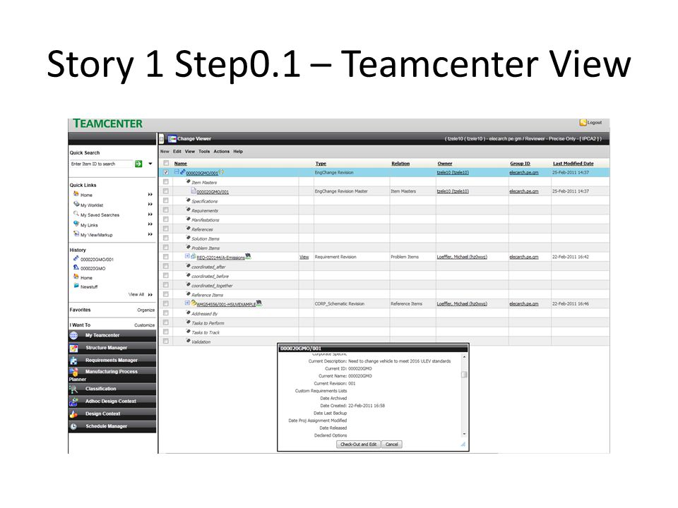 Story 1 Step0.1 – Teamcenter View
