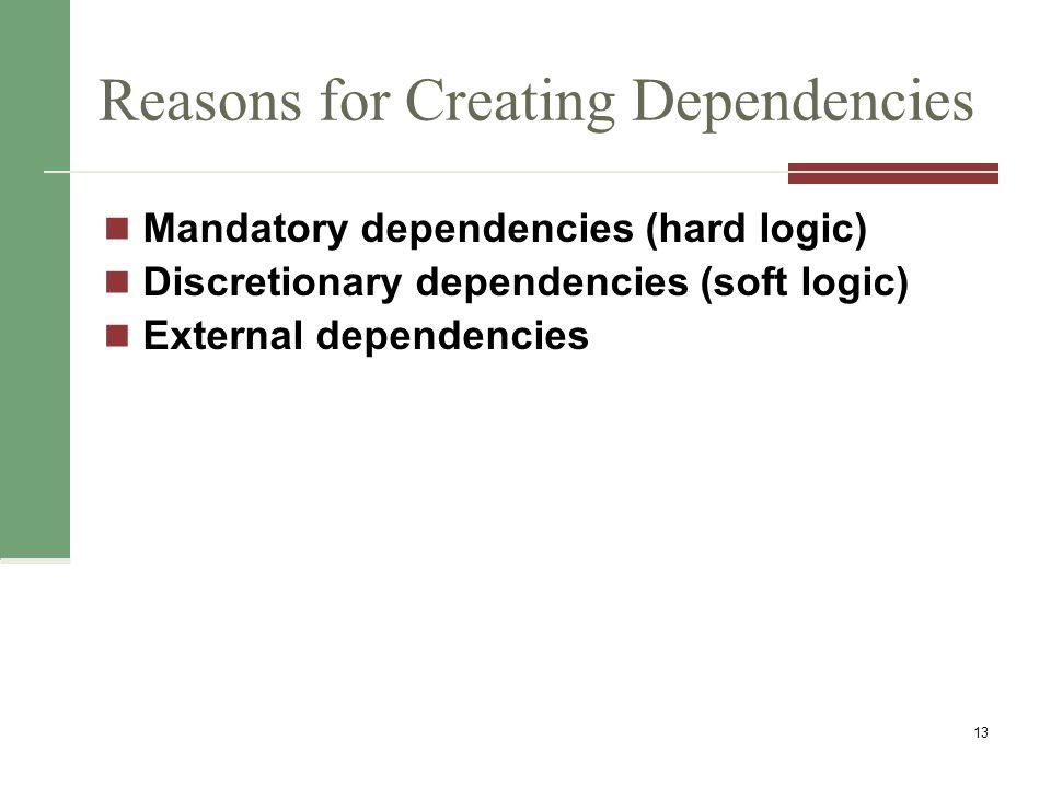 Reasons for Creating Dependencies