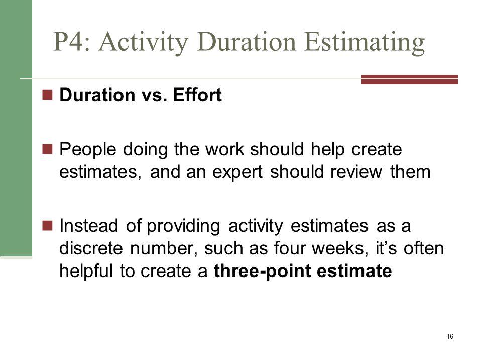 P4: Activity Duration Estimating