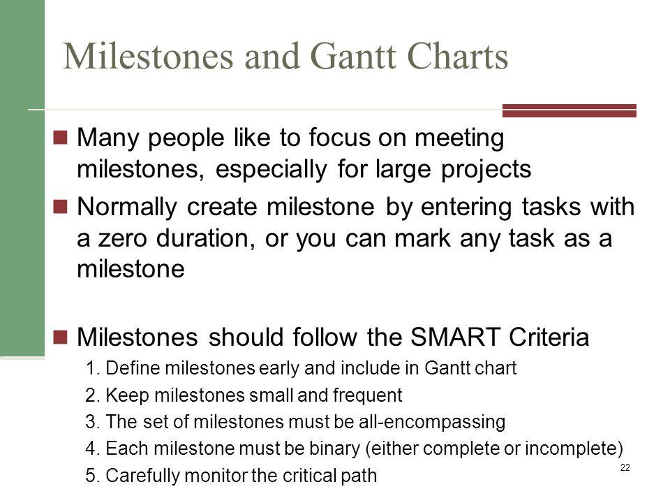 Milestones and Gantt Charts