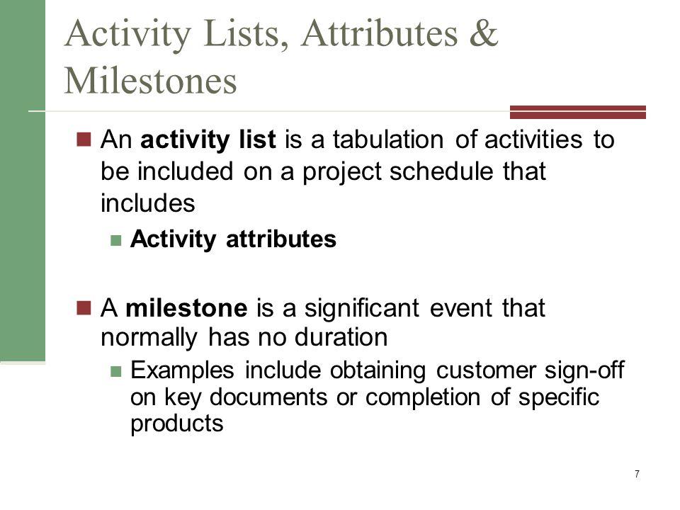 Activity Lists, Attributes & Milestones
