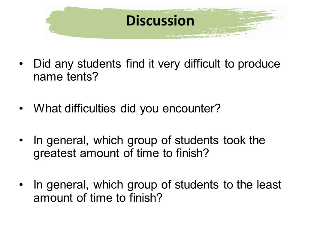 Discussion Did any students find it very difficult to produce name tents What difficulties did you encounter