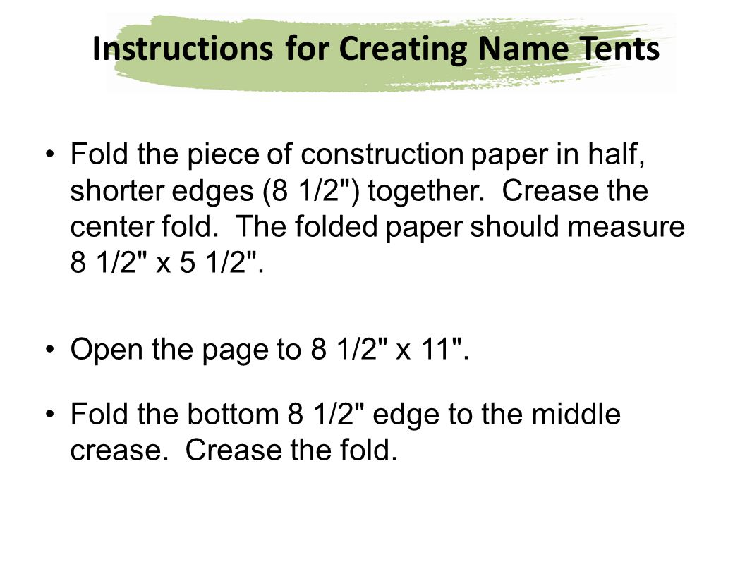 Instructions for Creating Name Tents