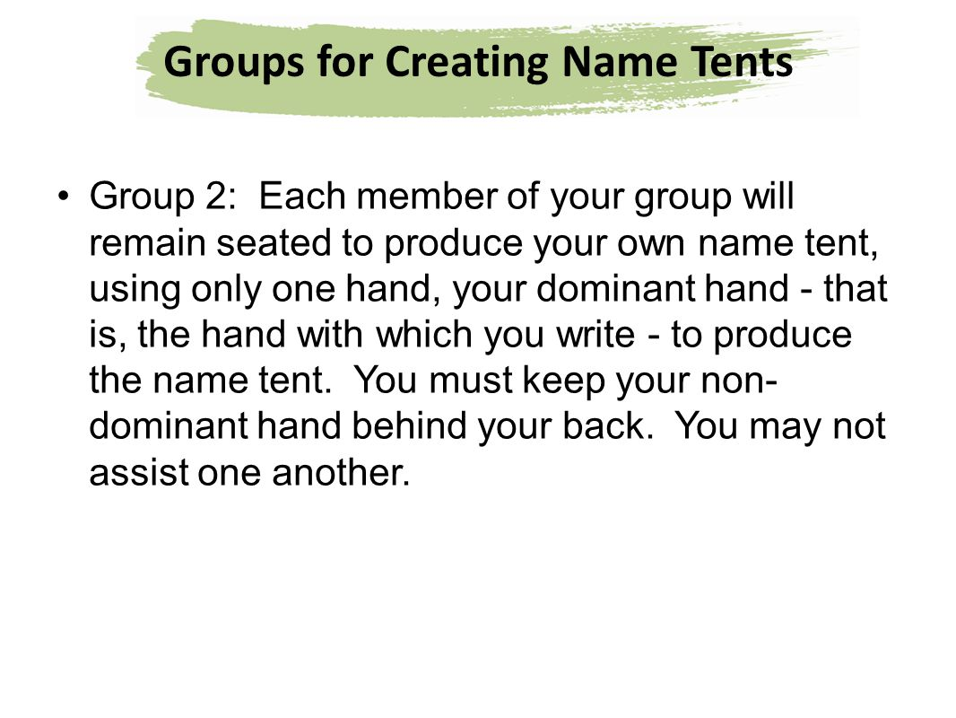 Groups for Creating Name Tents