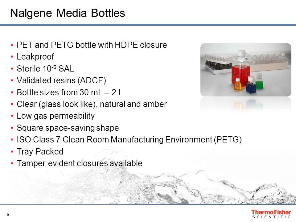 Nalgene Media Bottles PET and PETG bottle with HDPE closure Leakproof
