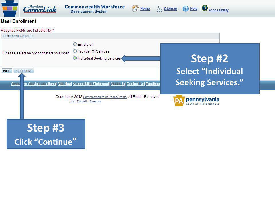 Select Individual Seeking Services.