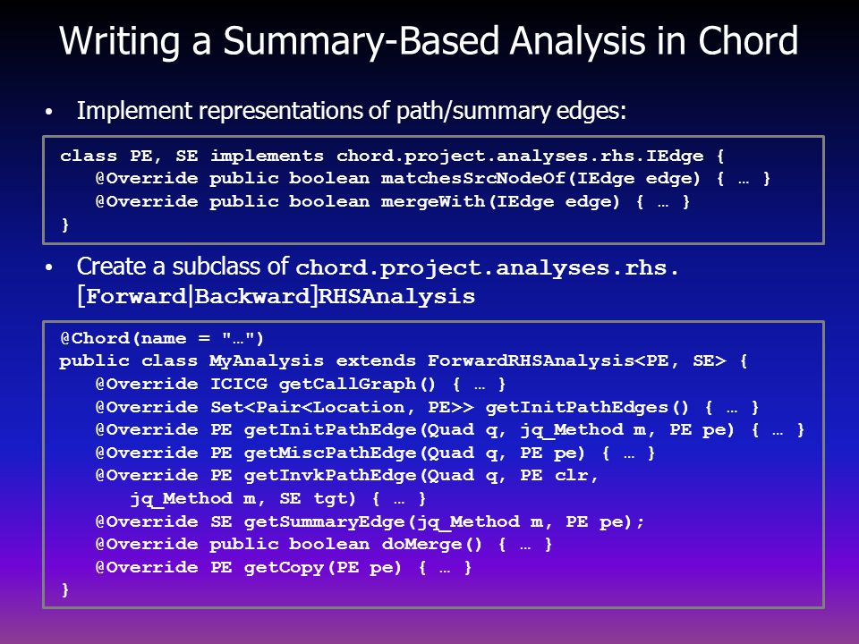Writing a Summary-Based Analysis in Chord