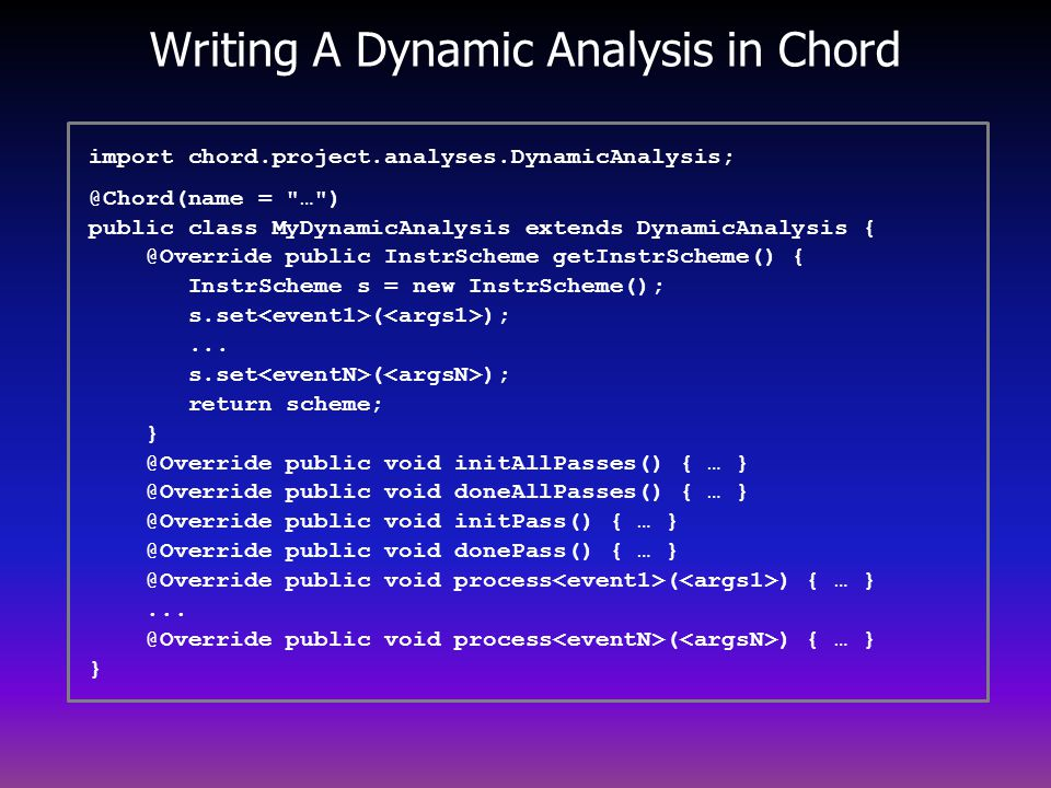 Writing A Dynamic Analysis in Chord