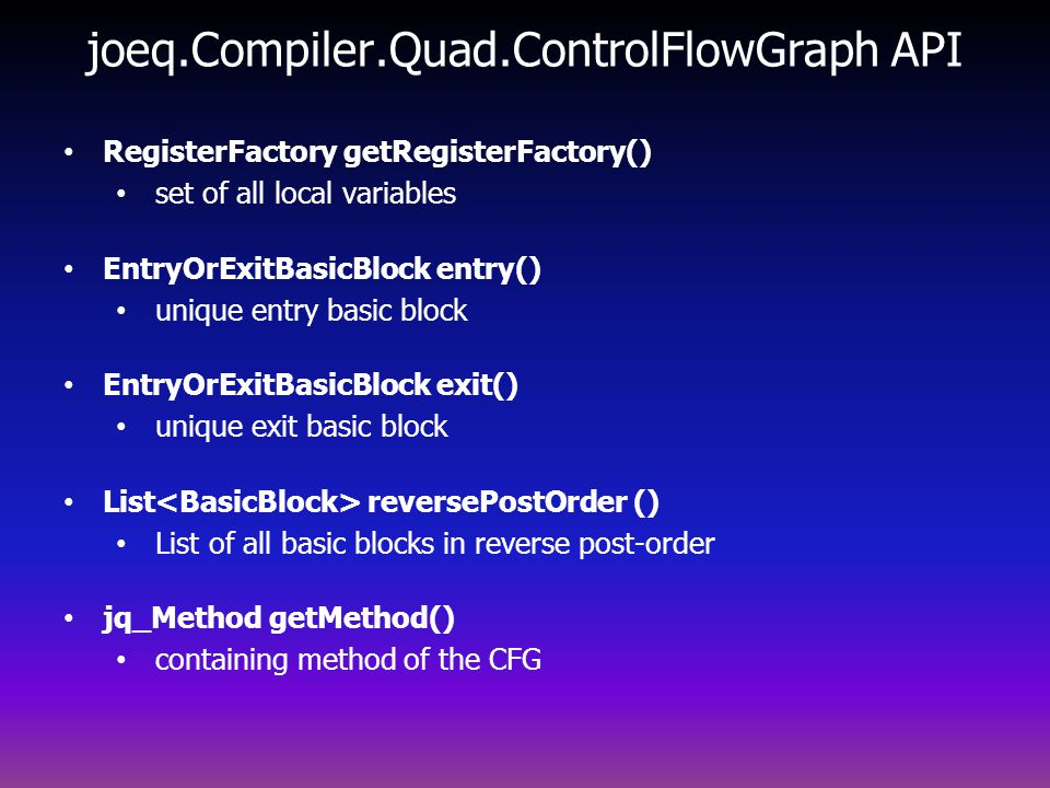 joeq.Compiler.Quad.ControlFlowGraph API