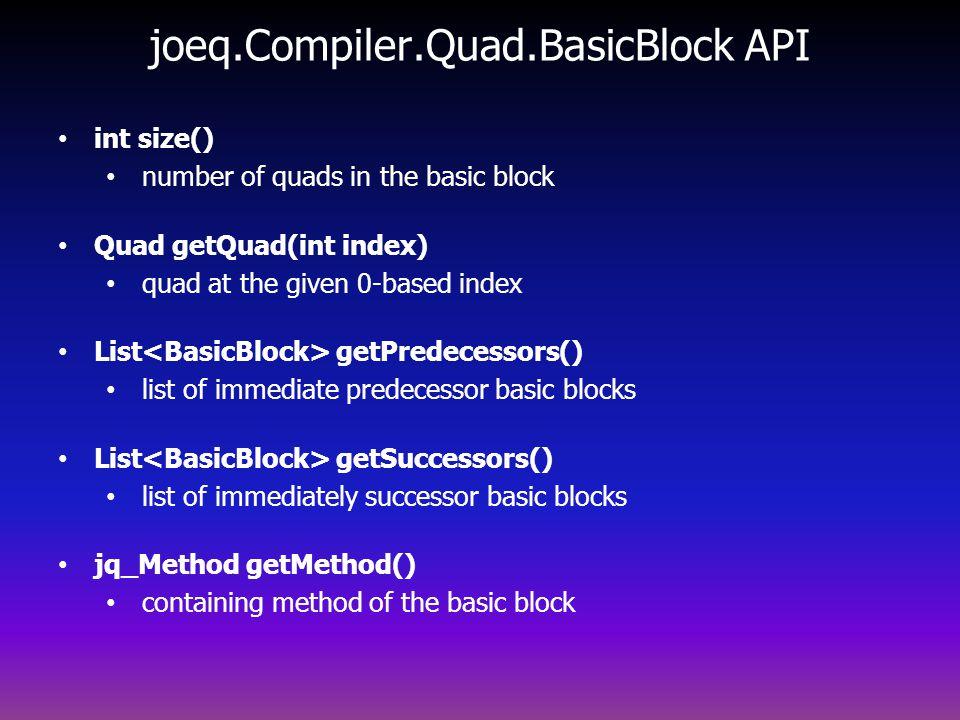 joeq.Compiler.Quad.BasicBlock API