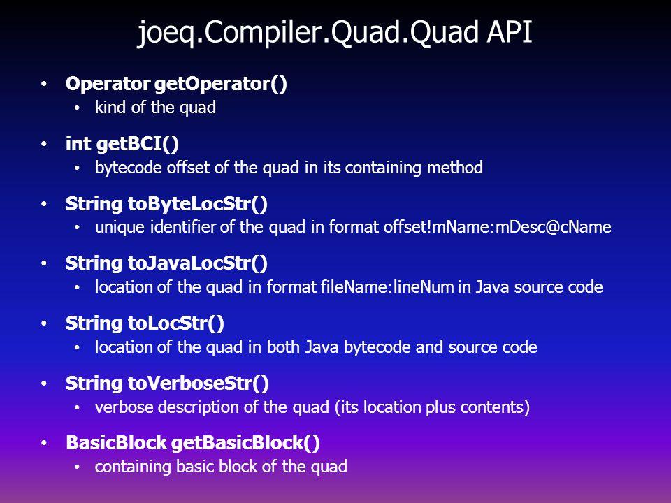 joeq.Compiler.Quad.Quad API