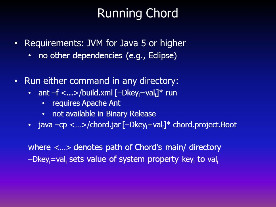 Running Chord Requirements: JVM for Java 5 or higher