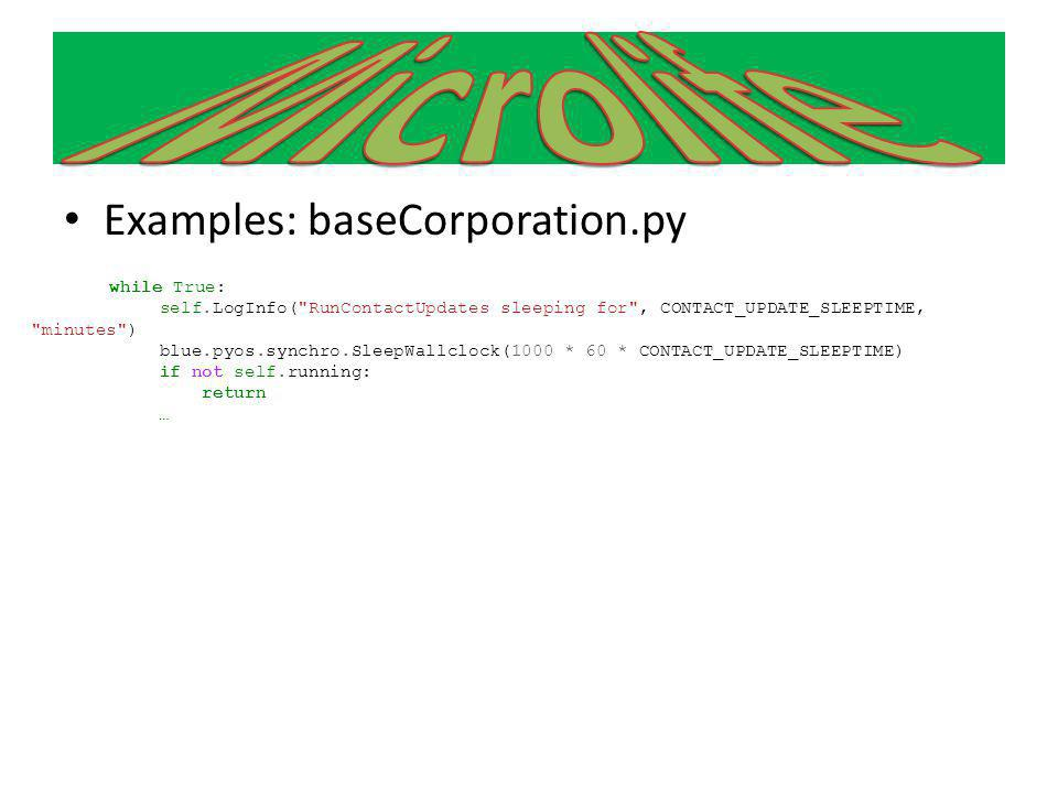 Microlife Examples: baseCorporation.py
