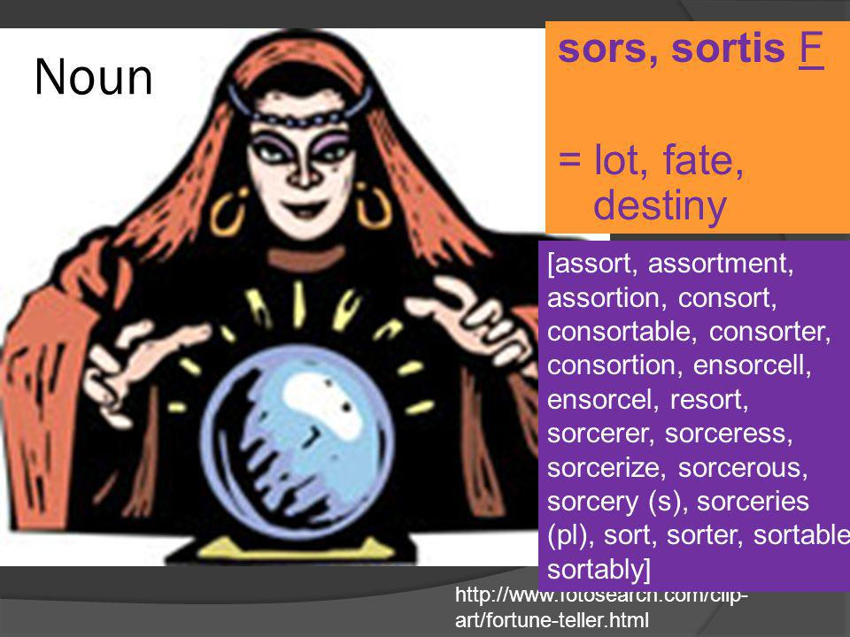 Noun sors, sortis F = lot, fate, destiny