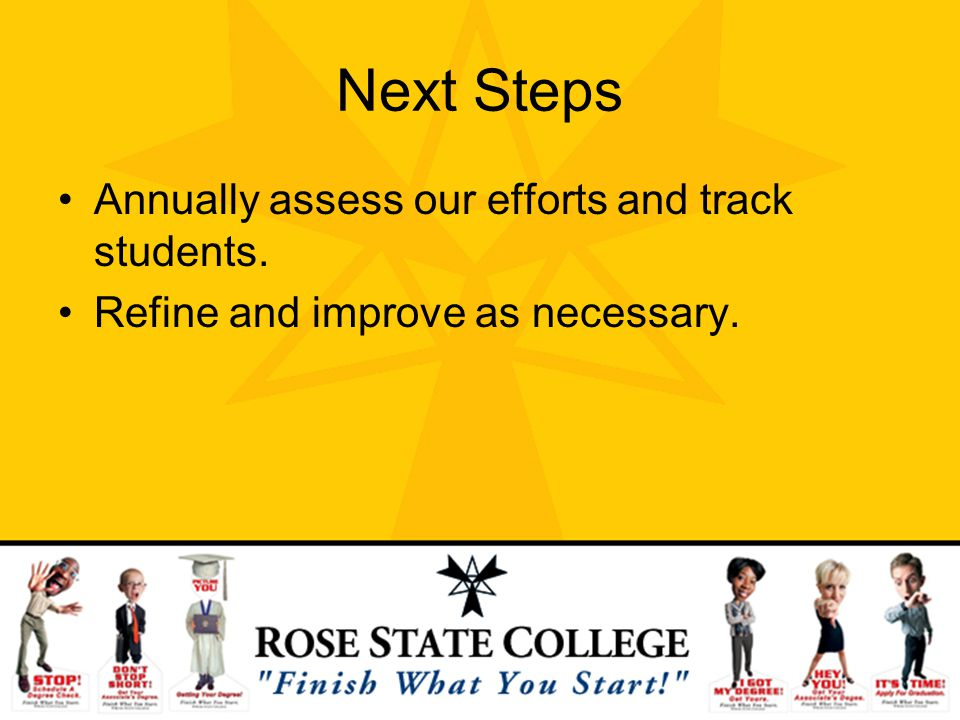 Next Steps Annually assess our efforts and track students.