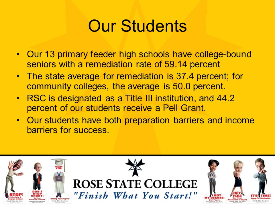 Our Students Our 13 primary feeder high schools have college-bound seniors with a remediation rate of percent.