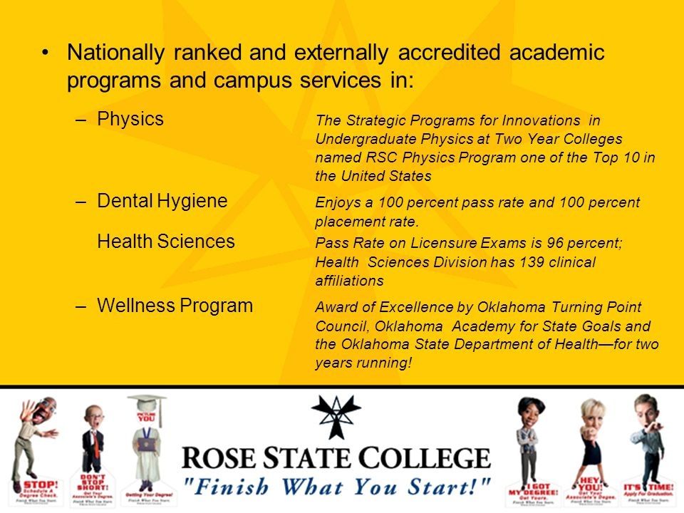 Nationally ranked and externally accredited academic programs and campus services in: