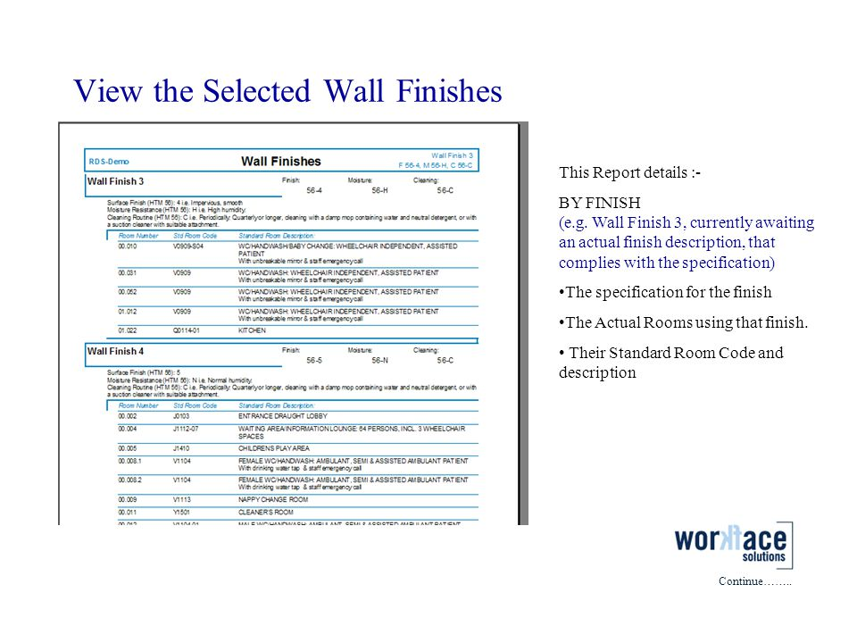 View the Selected Wall Finishes