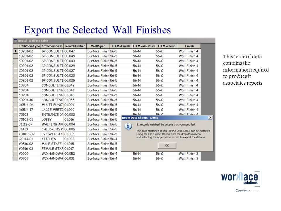 Export the Selected Wall Finishes