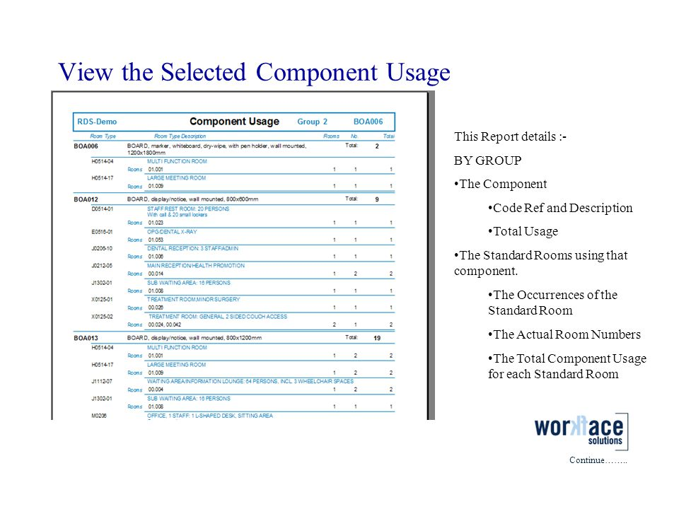 View the Selected Component Usage