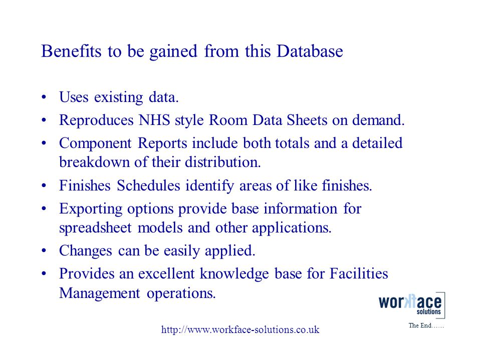 Benefits to be gained from this Database