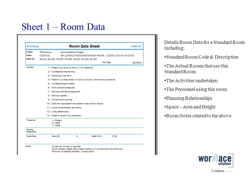 Sheet 1 – Room Data Details Room Data for a Standard Room including: