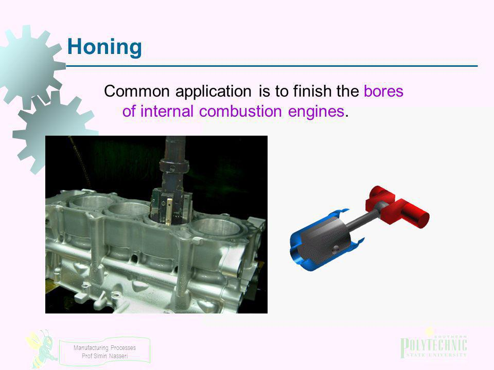 Honing Common application is to finish the bores of internal combustion engines.