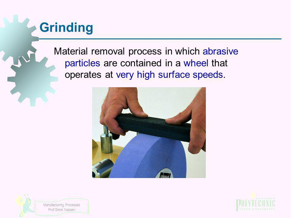 Grinding Material removal process in which abrasive particles are contained in a wheel that operates at very high surface speeds.