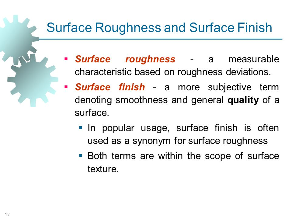 Surface Roughness and Surface Finish