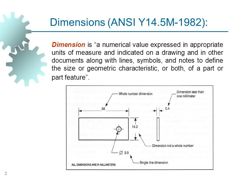 Dimensions (ANSI Y14.5M‑1982):