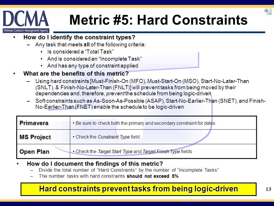 Metric #5: Hard Constraints