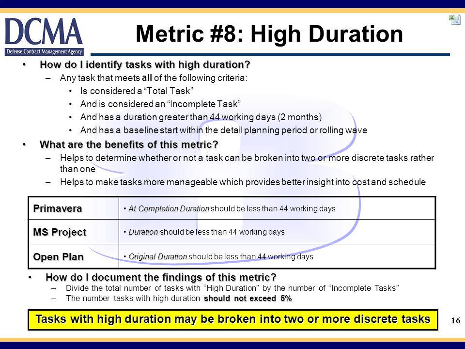 Metric #8: High Duration
