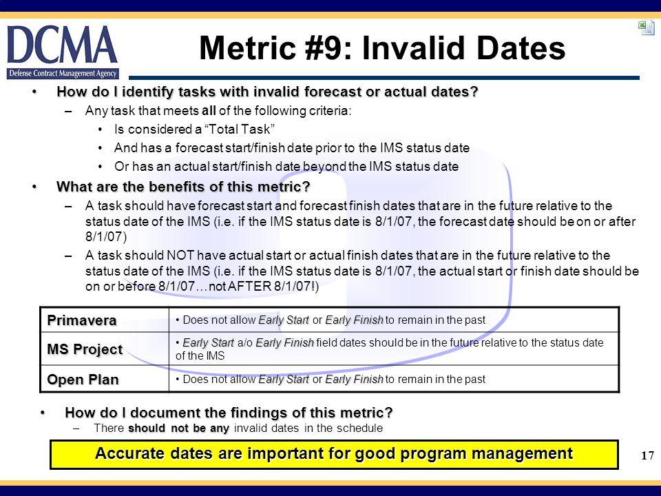 Metric #9: Invalid Dates
