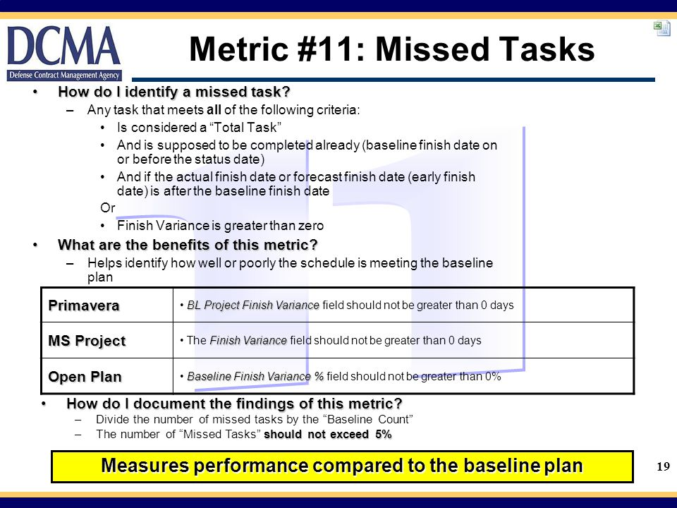 Measures performance compared to the baseline plan
