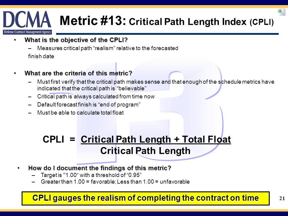 Metric #13: Critical Path Length Index (CPLI)