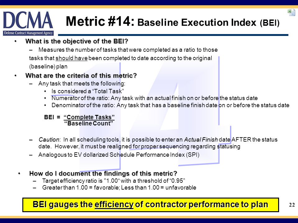 Metric #14: Baseline Execution Index (BEI)