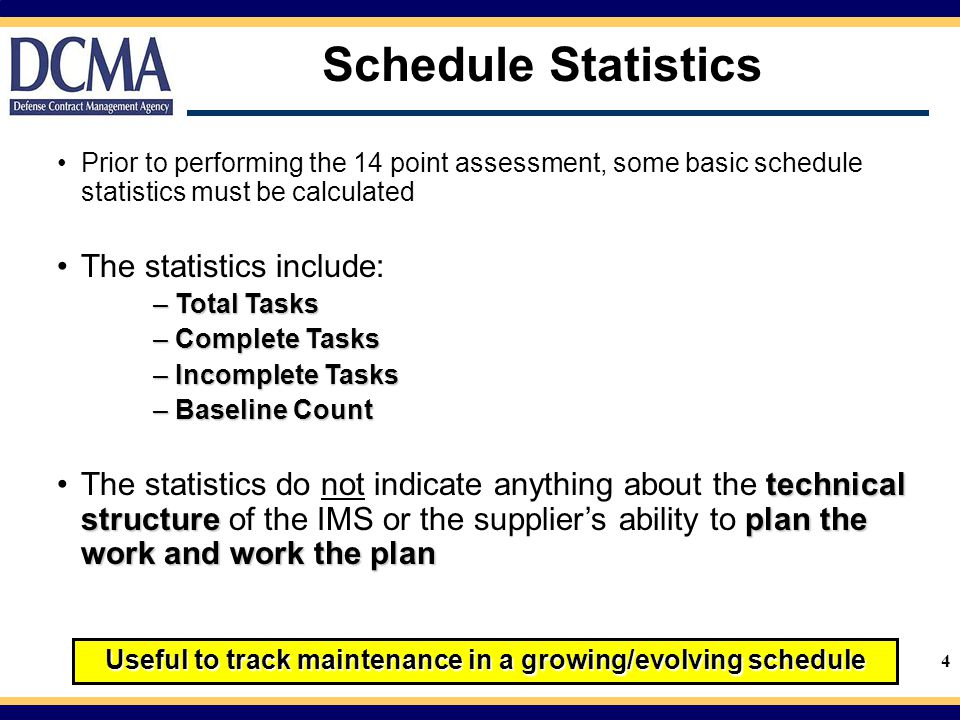 Useful to track maintenance in a growing/evolving schedule