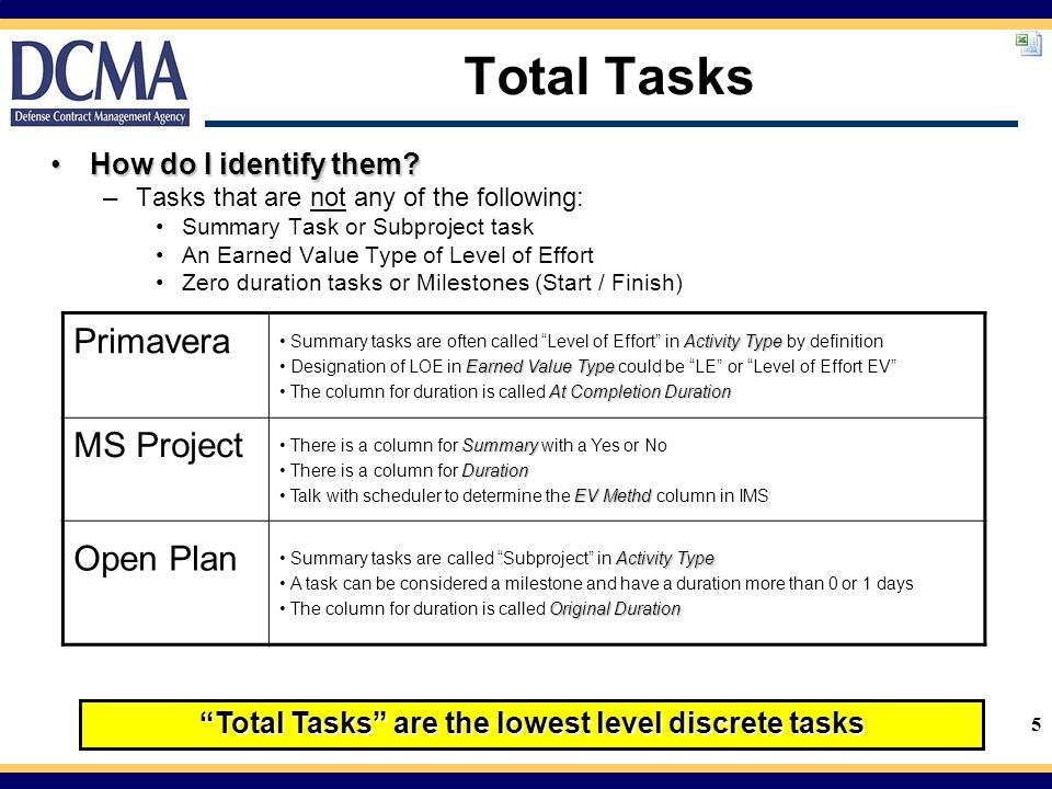 Total Tasks are the lowest level discrete tasks