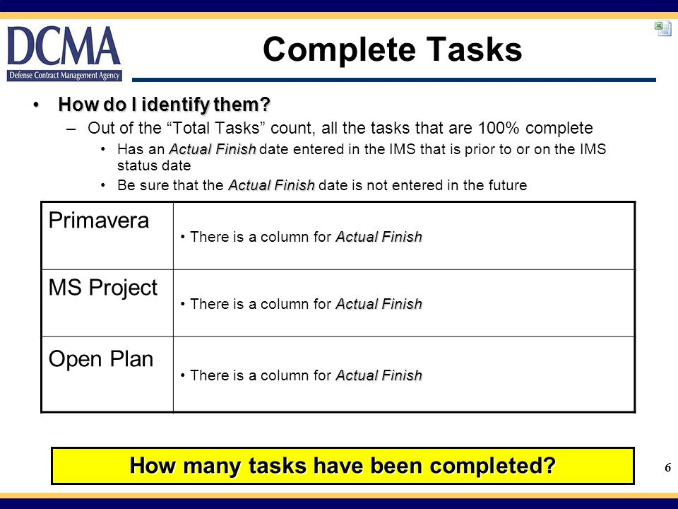 How many tasks have been completed