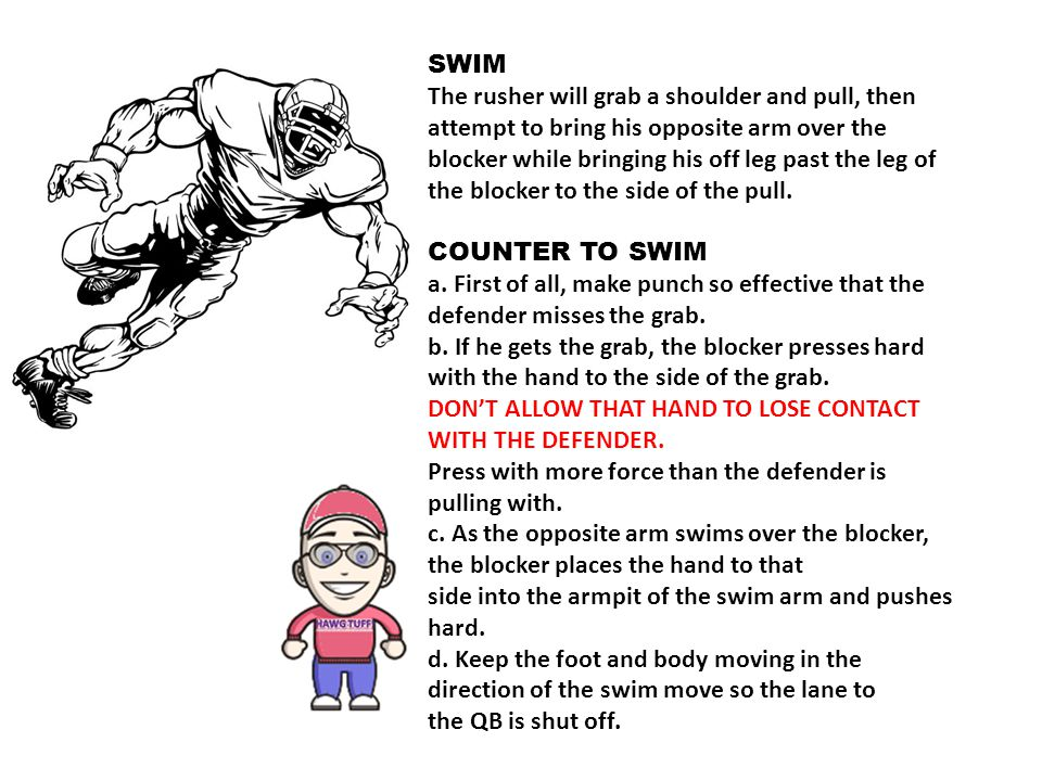 SWIM The rusher will grab a shoulder and pull, then.