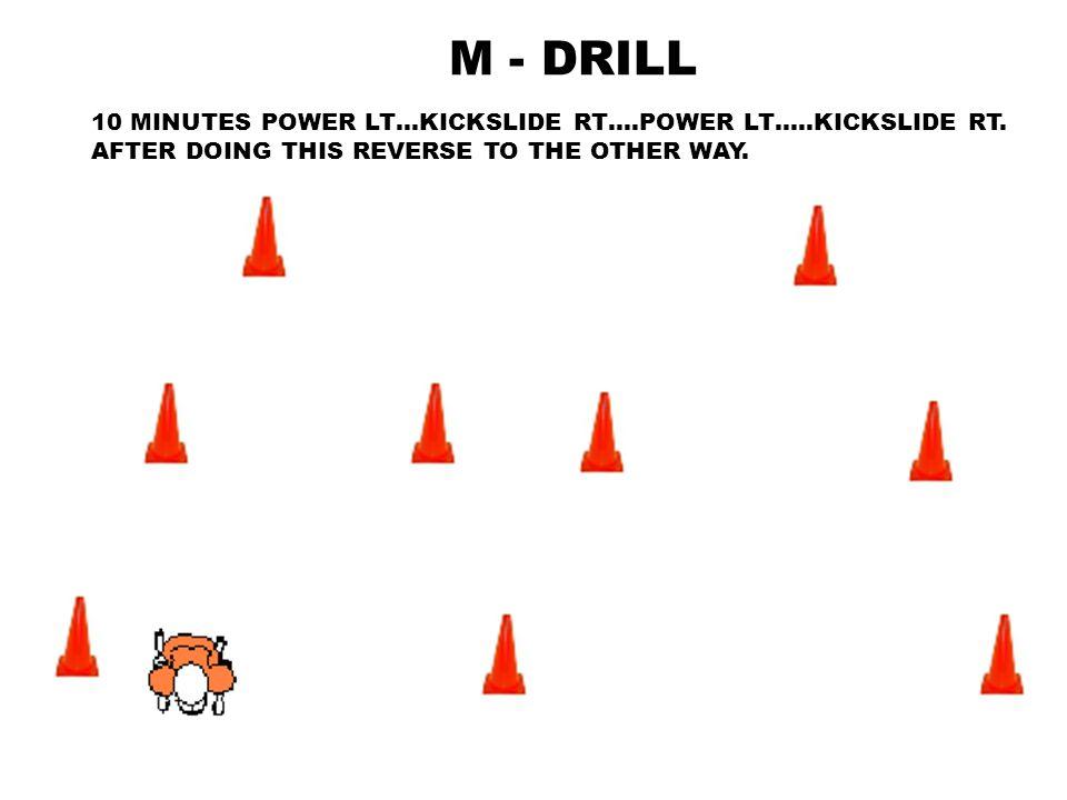 M - DRILL 10 MINUTES POWER LT…KICKSLIDE RT….POWER LT…..KICKSLIDE RT.