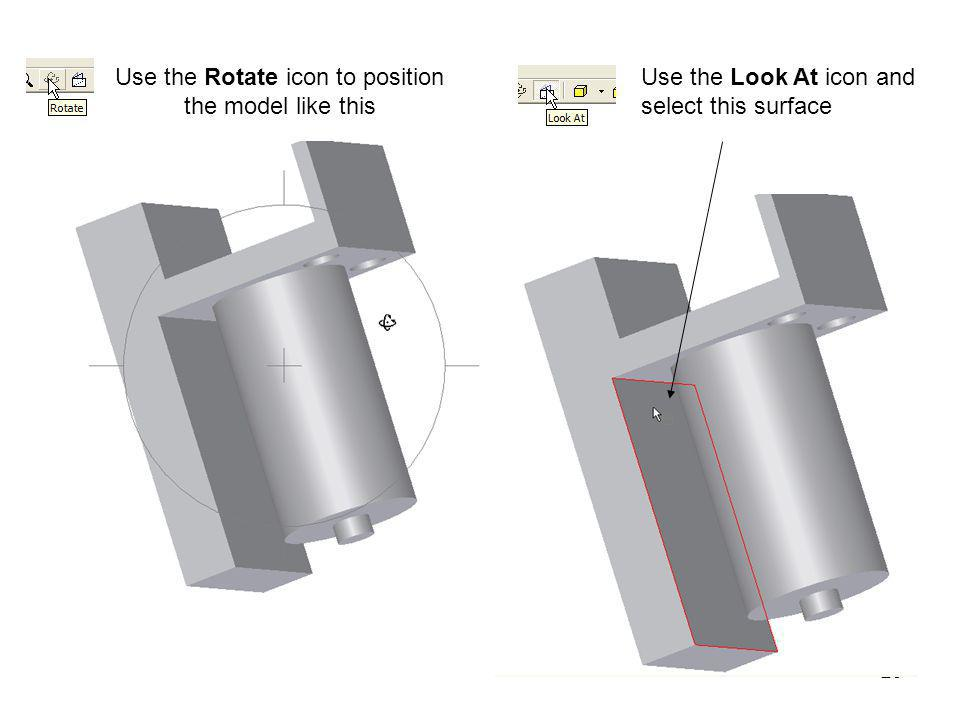 Use the Rotate icon to position the model like this