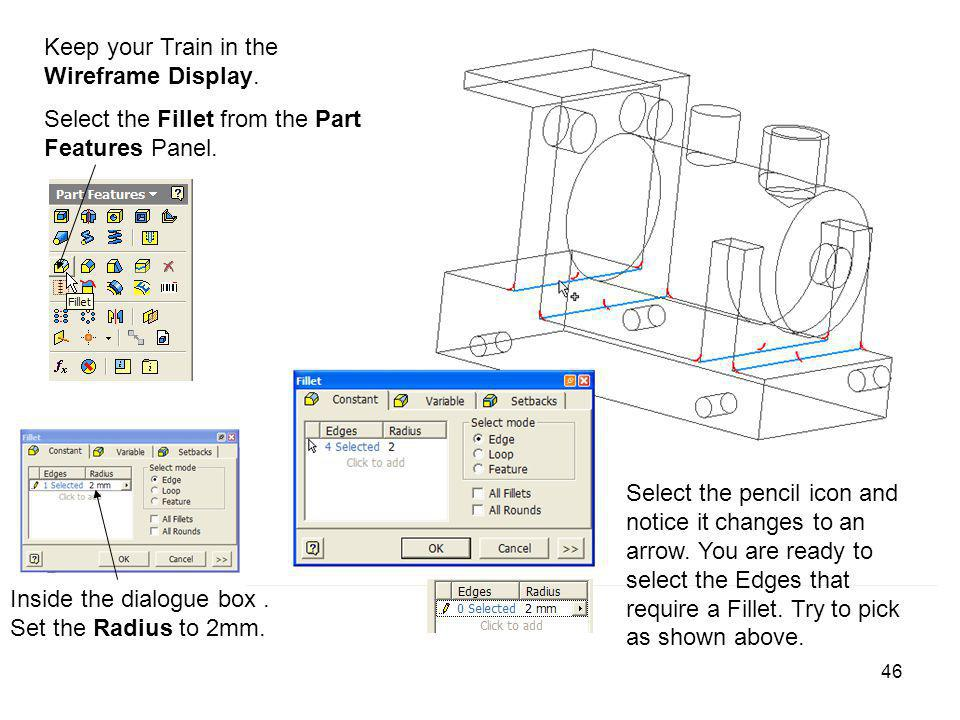 Keep your Train in the Wireframe Display.