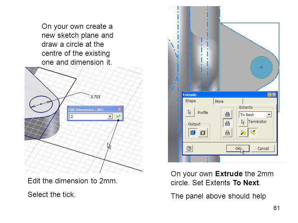 On your own create a new sketch plane and draw a circle at the centre of the existing one and dimension it.